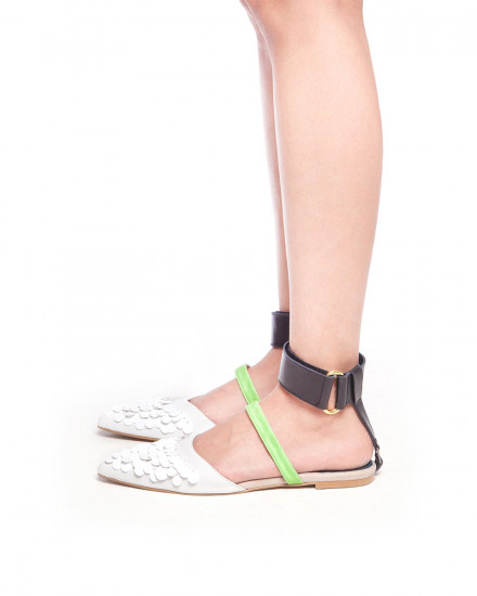 Enggang - Mules Ankle Strap - White/Neon