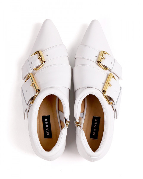 Double Buckle Shoes - White