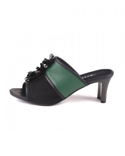Raya Open Toe Heels - Emerald/Black