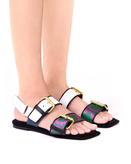 Square Toe Python Velvet/Green/White