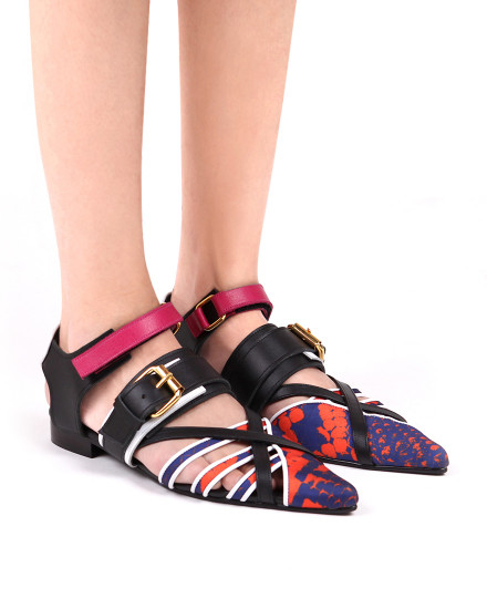 Bondage shoe Python - Orange/Blue/Black