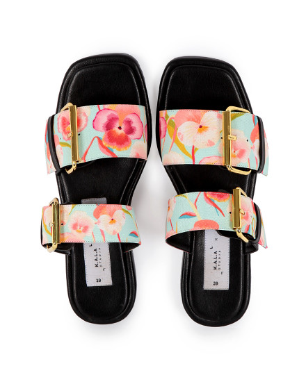 KALA X MADER Double Buckle Square Toe Fancy Pansy