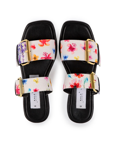 KALA X MADER Double Buckle Square Toe Tropical Latte